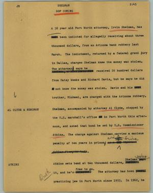 Primary view of object titled '[News Script: Shelman]'.