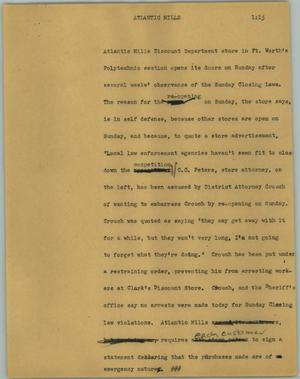 Primary view of object titled '[News Script: Atlantic Mills]'.
