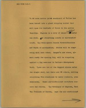 Primary view of object titled '[News Script: Big town]'.