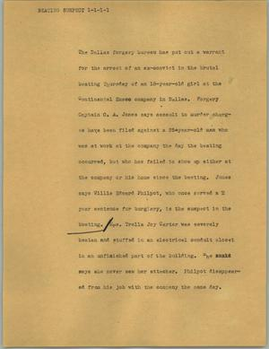 Primary view of object titled '[News Script: Beating suspect]'.