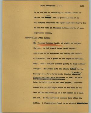 Primary view of object titled '[News Script: Cecil sentenced]'.
