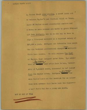 Primary view of object titled '[News Script: Baylor coach]'.