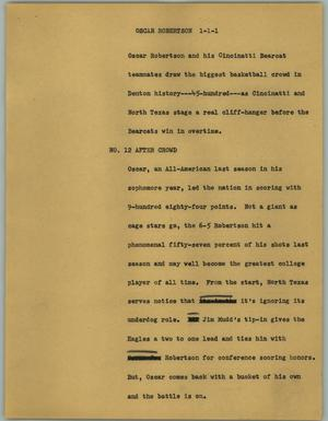 Primary view of object titled '[News Script: Oscar Robertson]'.