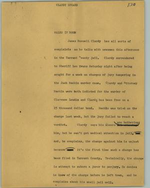 Primary view of object titled '[News Script: Clardy speaks]'.