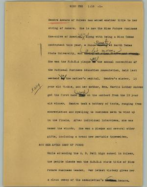 Primary view of object titled '[News Script: Miss FBE]'.