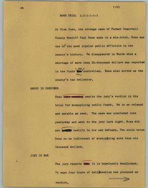 Primary view of object titled '[News Script: Bone trial]'.