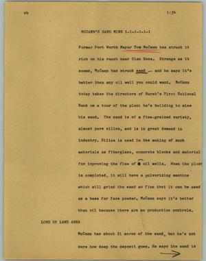 Primary view of object titled '[News Script: McCann's sand mine]'.