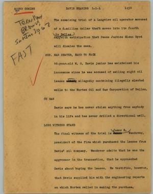 Primary view of object titled '[News Script: Davis hearing]'.