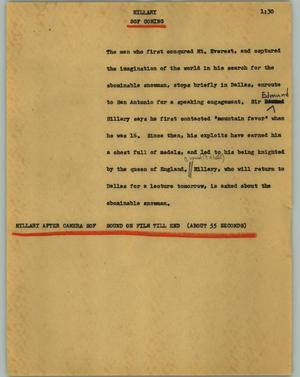 Primary view of object titled '[News Script: Hillary]'.