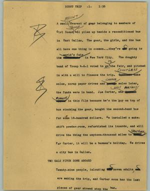 Primary view of object titled '[News Script: Scout trip]'.