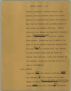 Primary view of object titled '[News Script: Simpson custody]'.