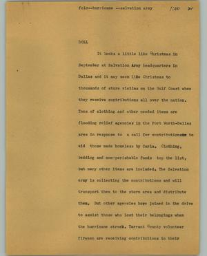 Primary view of object titled '[News Script: Folo-hurricane - salvation army]'.