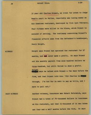 Primary view of object titled '[News Script: Bryant trial]'.
