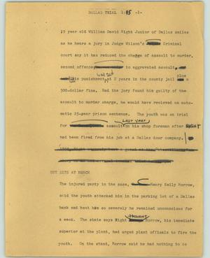 Primary view of object titled '[News Script: Dallas trial]'.