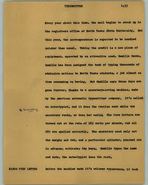 Primary view of object titled '[News Script: Typewritter]'.
