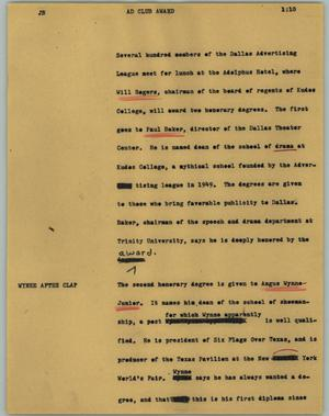 Primary view of object titled '[News Script: Ad Club Award]'.