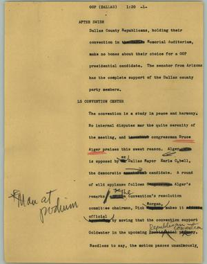 Primary view of object titled '[News Script: GOP (Dallas)]'.