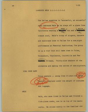 Primary view of object titled '[News Script: Lawrence Welk]'.