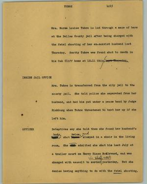 Primary view of object titled '[News Script: Tubre]'.