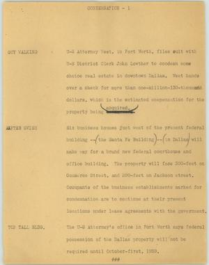 Primary view of object titled '[News Script: Condemnation]'.