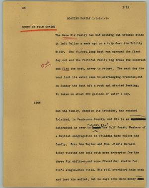 Primary view of object titled '[News Script: Boating family]'.