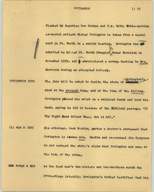 Primary view of object titled '[News Script: Covington]'.