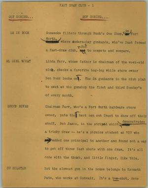 Primary view of object titled '[News Script: Fast draw club]'.