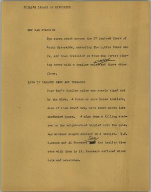 Primary view of object titled '[News Script: Doyle's damage on riverside]'.