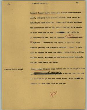 Primary view of object titled '[News Script: Commissioners CT.]'.