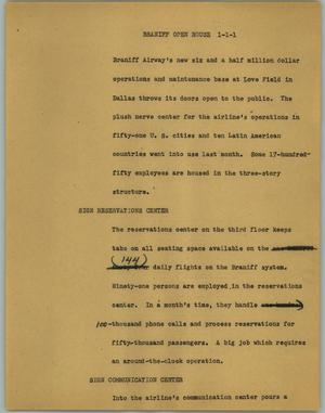 Primary view of object titled '[News Script: Braniff open house]'.