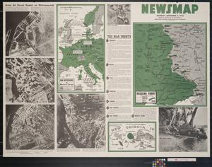 Primary view of object titled 'Newsmap. Monday, September 6, 1943 : week of August 26 to September 2, 208th week of the war, 90th week of U.S. participation'.