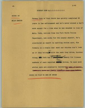 Primary view of object titled '[News Script: Herman Cobb]'.