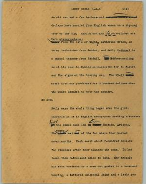 Primary view of object titled '[News Script: Limey girls]'.