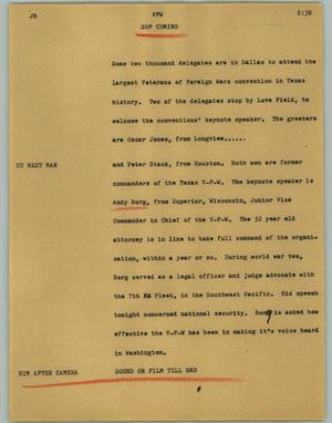 Primary view of object titled '[News Script: VFW]'.