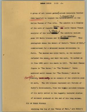 Primary view of object titled '[News Script: Rodin]'.