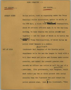 Primary view of object titled '[News Script: Cops organize]'.