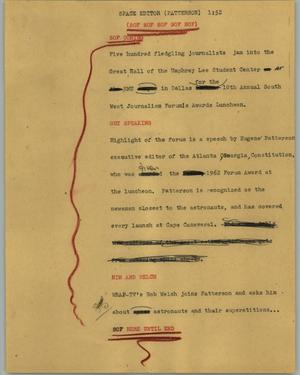 Primary view of object titled '[News Script: Space editor (Patterson)]'.