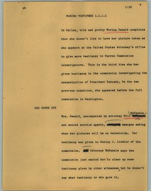 Primary view of object titled '[News Script: Marina testifies]'.