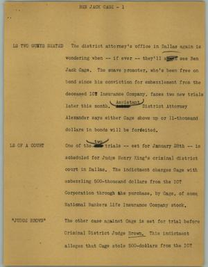 Primary view of object titled '[News Script: Ben Jack Cage]'.