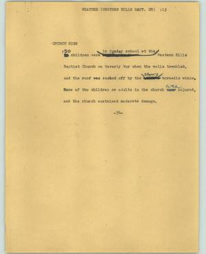 Primary view of object titled '[News Script: Weather-Western Hills Bapt. Ch]'.