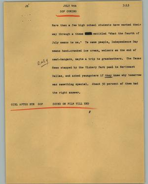 Primary view of object titled '[News Script: July 4th]'.