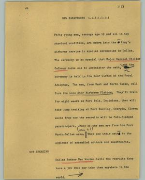 Primary view of object titled '[News Script: New paratroops]'.