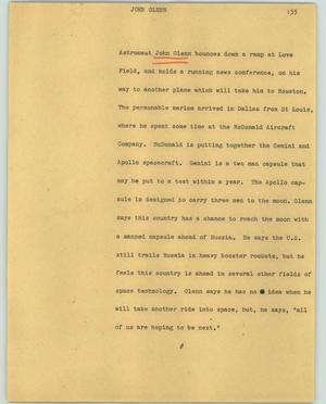 Primary view of object titled '[News Script: John Glenn]'.