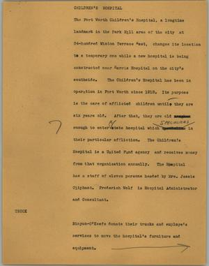 Primary view of object titled '[News Script: Children's Hospital]'.