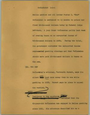 Primary view of object titled '[News Script: McClanahan]'.