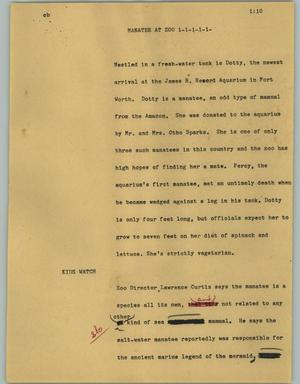 Primary view of object titled '[News Script: Manatee at Zoo]'.