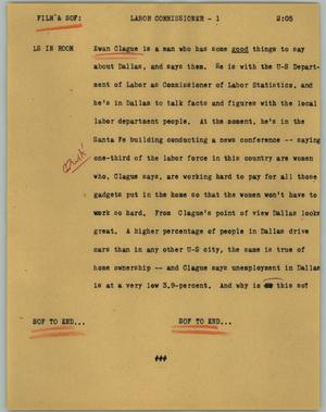 Primary view of object titled '[News Script: Labor commissioner]'.