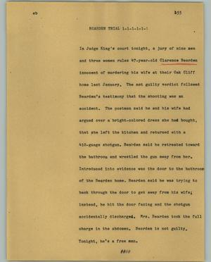 Primary view of object titled '[News Script: Bearden trial]'.