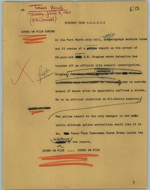 Primary view of object titled '[News Script: Bingham Case]'.