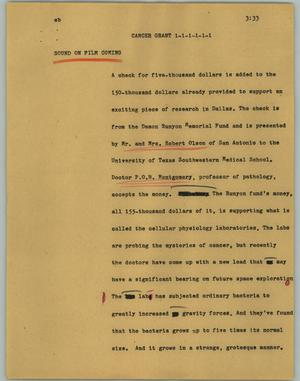 Primary view of object titled '[News Script: Cancer grant]'.